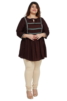 Kurtis India Rayon Slub Brown Lace patter Plus size Ladies top