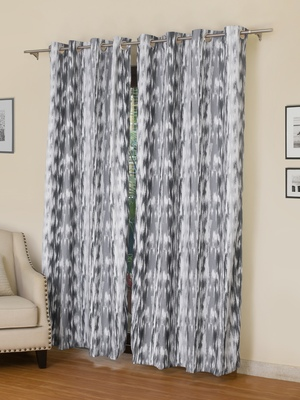 ROSARA HOME Chenille Ikat Grey Printed Set Of 2 Curtains