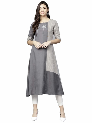 Grey printed cotton party-wear-kurtis