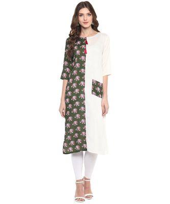 Green & White Printed Casual wear Kurti