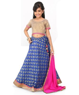 Glod Broced Top Blue Broced lehenga set
