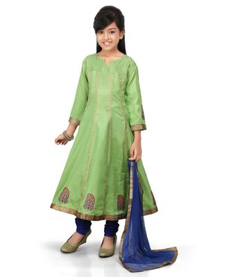 Lemane Green santoon printet kurta Blue Santoon chodidar set