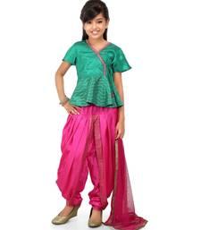 Jed green printet Top Pink Santoon Dhoti set