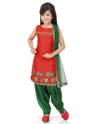 Red Dupion Printed Kurat Green Salwar Set