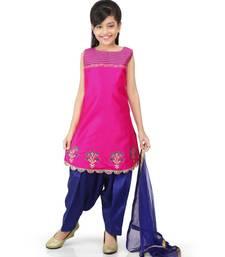 Pink Dupion Printed Kurat Navy blue salwar set
