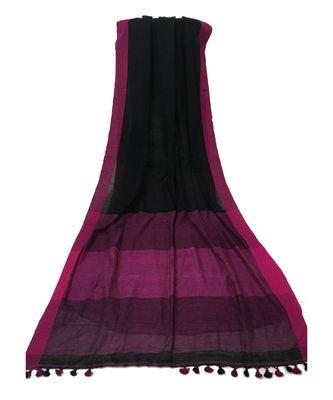 Fushia woven Bengal Cotton Handloom saree with blouse