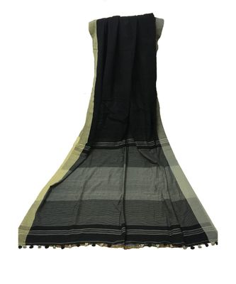 Grey woven Bengal Cotton Handloom saree with blouse