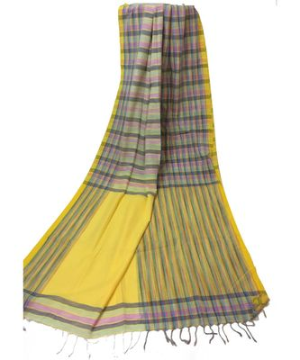 Yellow WOVEN  Bengal Cotton Handloom  SAREE WITH BLOUSE