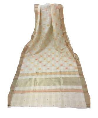 Cream Zari woven Banarasi Cotton Silk saree with Blouse