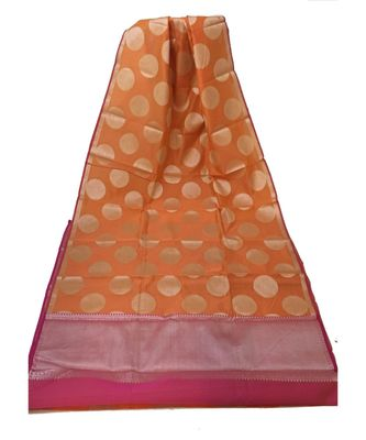 Orange Banarasi Cotton Silk saree with Blouse