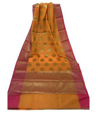 Orange Zari Woven Banarasi Cotton Silk saree with Blouse