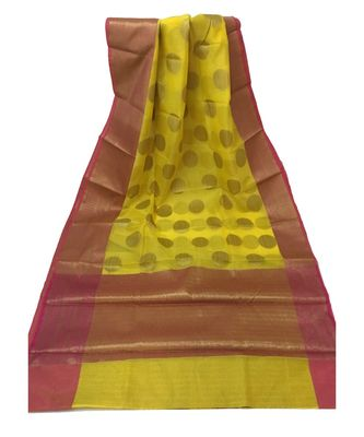 Yellow Zari Woven Banarasi Cotton Silk saree with Blouse