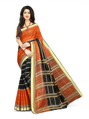 Orange printed cotton saree with blouse