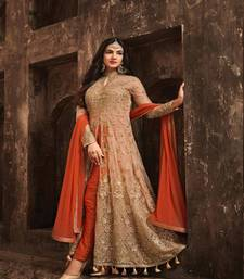 Orange embroidered net Anarkali suits