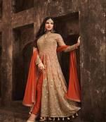 Buy Orange embroidered net Anarkali suits