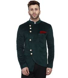 Green Plain Velvet Bandhgala Suit