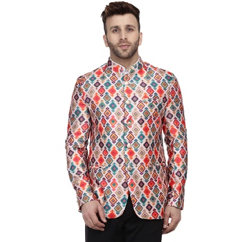 Multicolor Printed Satin Bandhgala Suit