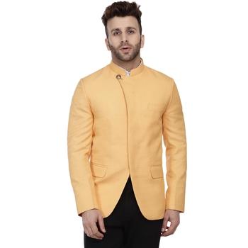 Yellow Plain Cotton Poly Bandhgala Suit