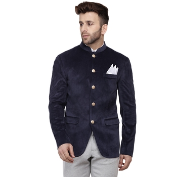 Blue plain velvet bandhgala-suit