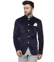 Blue Plain Velvet Bandhgala Suit