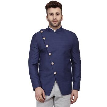 Blue plain cotton poly bandhgala-suit
