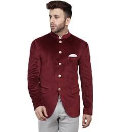 Maroon Plain Velvet Bandhgala Suit