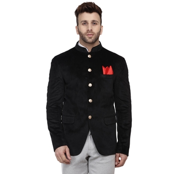 Black Plain Velvet Bandhgala Suit