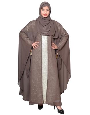 Brown plain georgette abaya