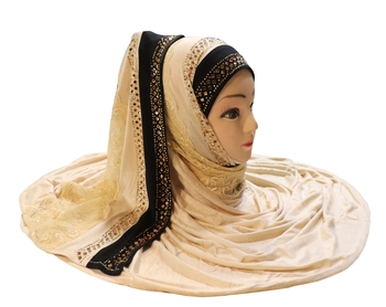 Justkartit Women'S Hosiery Cotton Stretchable Heavy Net Embroidery Hijab Scarf Dupatta
