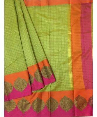 Green woven Banarasi Cotton Silk saree with Blouse