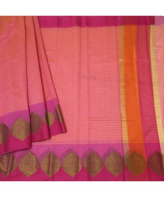 Pink woven Banarasi Cotton Silk saree with Blouse