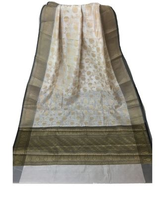 Off White woven Banarasi Cotton Silk saree with Blouse