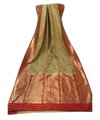 multicolor zari woven Banarasi Cotton Silk saree with blouse