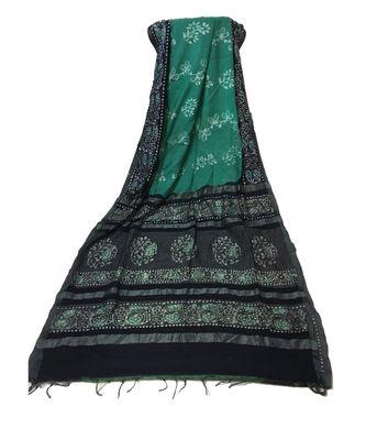 Navy Blue Batik Printed Bengal Cotton Silk Saree With Blouse