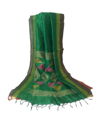 Green woven  Bengal Handloom Cotton Silk Saree With Blouse