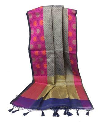 Multicolor Woven Banarasi Cotton Silk saree with Blouse