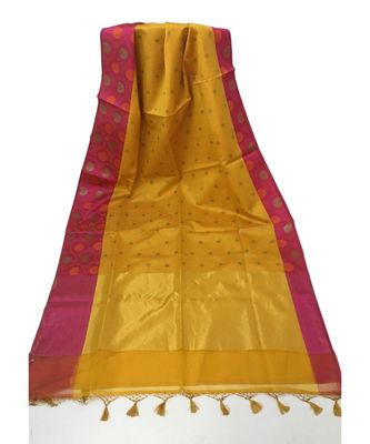 Mustard Woven Banarasi Cotton Silk saree with Blouse