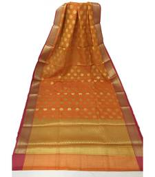 Orange Woven Banarasi Cotton Silk saree with Blouse