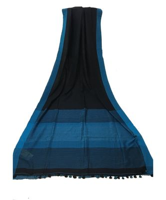 Blue woven Bengal Cotton Handloom saree with blouse