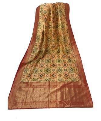 Peach woven Banarasi Cotton Silk saree with Blouse
