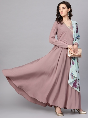 Mauve plain polyester kurta with dupatta