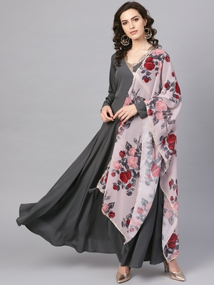 Black plain polyester kurta with dupatta