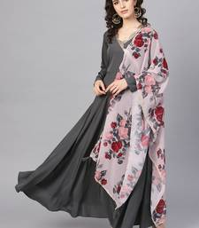 Black plain polyester kurta with dupatta