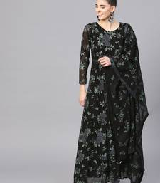 Black printed polyester kurta with dupatta
