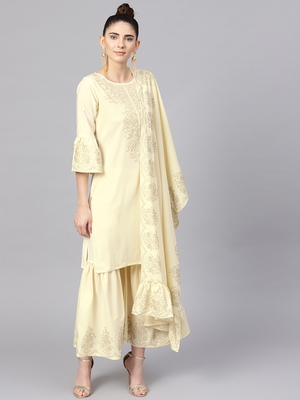 Cream plain crepe kurta and sharara with dupatta