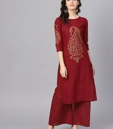 Maroon plain cotton kurta with pant