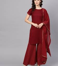 Maroon printed cotton kurta and sharara with dupatta