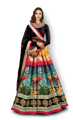 Multicolor Embroidered Art Silk Unstitched Lehenga