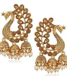 Traditional Gold Pearl Peacock Kundan Jhumkas Diamond, Pearl Alloy Jhumki Earring