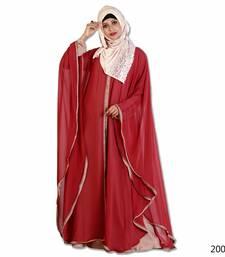 red Pearl Work polyester Farasha Abaya